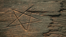 Pentagram in wooden plank, Witchcraft to ward off spells
