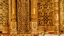Indian makeshift golden Hindu 'temple' used for weddings