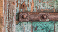 Old Indian door with decorative reinforcement bar
