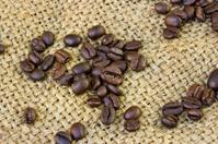 Coffee beans on Burlap Bag.