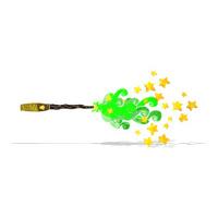 cartoon magic wand casting spell