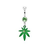 Silver piercing in the shape of marijuana