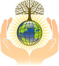 Tree, globe and hands