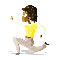 cartoon woman running and pointing