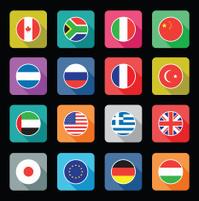 set of colourful flat world flag icons