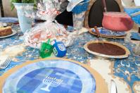 Table decorated for festive Hanukkah celebration dinner