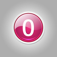 0 Number Circular Vector Pink Web Icon Button