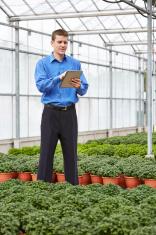 Plant nursery business owner checking digital tablet