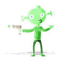 cartoon alien with ray gun
