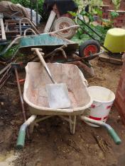spade and wheelbarrow