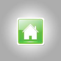 Home Rounded Rectangular Green Vector Web Button Icon