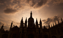 Kings College Gatehouse at sunset. Cambridge, UK