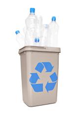 Recycle bin full of plastic bottles