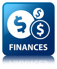 Finances (dollar dollar sign icon) glossy blue reflected square