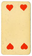 Four of Hearts playing card Tarot Austrian Tarock 1900
