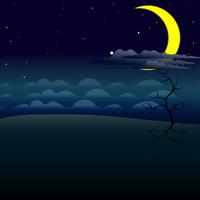 cartoon night background, vector illustration
