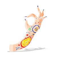 cartoon tattoo arm