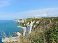 wind farm on english channel coast in Normandy