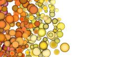 3d render strings of floating balls in multiple orange yellow