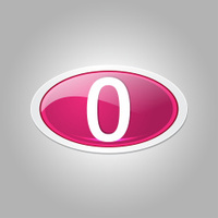 0 Number Elliptical Vector Pink Web Icon Button