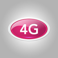 4g Sign Elliptical Pink Vector Web Button Icon