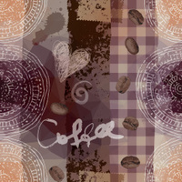 Grunge coffee pattern.