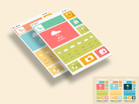 Colorful flat weather Mobile Web UI Concept.