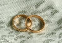 golden rings on a wedding dress