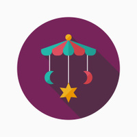 Baby crib toy flat icon with long shadow,EPS 10