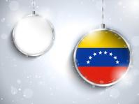 Merry Christmas Silver Ball with Flag Venezuela