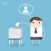 Vote, Man Voting at ballot box. Vector illustration