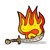 cartoon flaming sword
