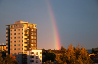 High rise and rainbow