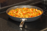 Paella in a frying pan