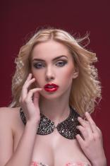 Wonderful blonde wearing jewelry