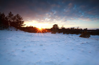 sunset over snow meadow in winter