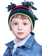 Adorable Boy in Crazy Winter Hat