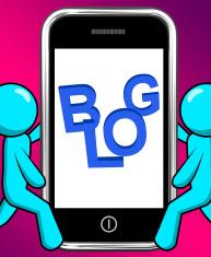 Blog On Phone Displays Blogging Or Weblog Websites