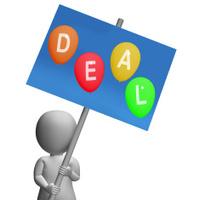 Sign Deal Balloons Represent Discounts Sales Bargains and Hot De