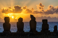 Five Moai at Sunset