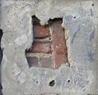 hidden brick behind damaged wall grunge concrete pattern