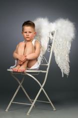 Sad angel kid