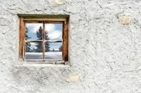 idyllic winter landscape in Wood window