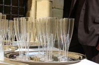Empty plastic champagne flutes image / wine glasses at wedding r