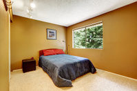 Cozy bedroom in matter soft brown color