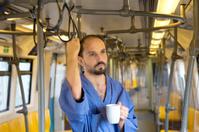 sleepy man on the subway