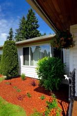 Front yard landscape with orange sawdust
