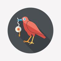 Halloween crow and eyeball flat icon with long shadow,eps10