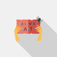 Halloween party flat icon with long shadow,eps10