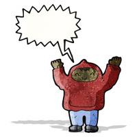 shouting teen in hooded sweatshirt